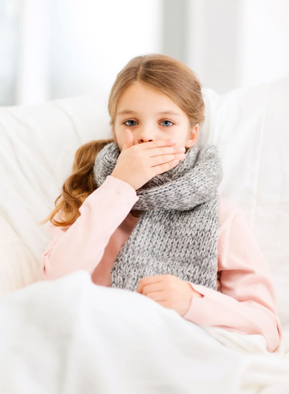 healthcare and medicine concept - ill girl with flu at home